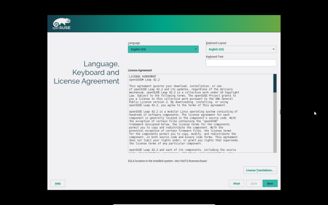 openSUSE - Accepting User Licence Agreement