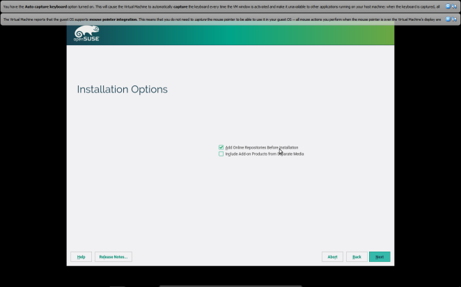 openSUSE - Choosing online repositories during the installation