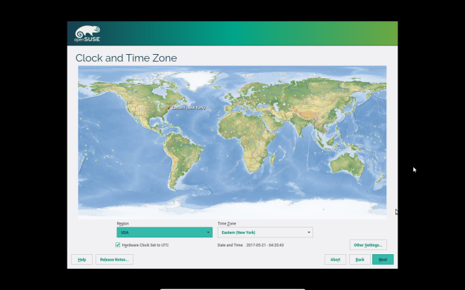 openSUSE - Timezone selection