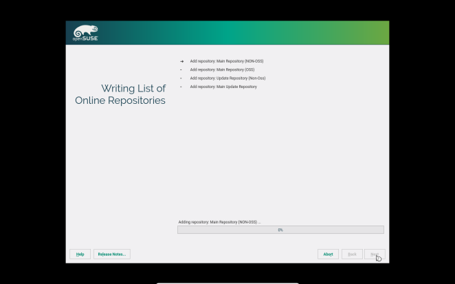 openSUSE - Adding the chosen repositories