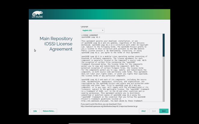 openSUSE - Main repository (OSS) License Agreement