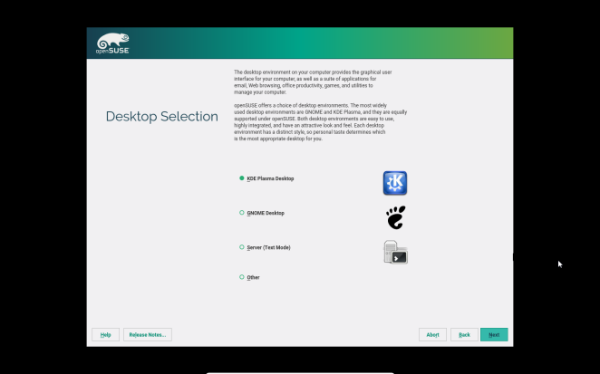 opensusE - Desktop selection