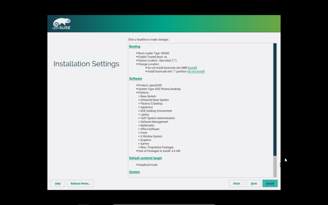 openSUSE - Installation Settings