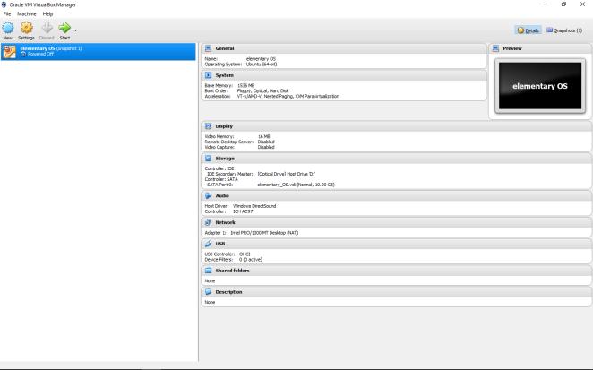 elementary OS - Virtual machine preliminary setup
