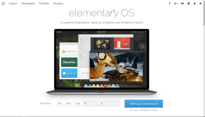 elementary OS's official download page
