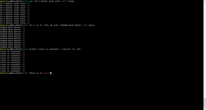 Linux terminal with colours after modified .bashrc